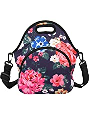 Lunch Bags Neoprene Lunch Boxes with Detachable Strap & Extra Pocket Insulated Tote Bags School Travel Picnic Office for Women Men