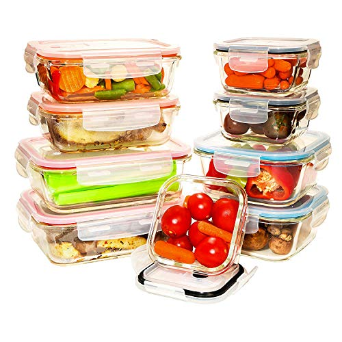 ([9 Value Pack] Tempered Glass Food Storage Containers w/Locking Lids | No-Leak, BPA Free, Airtight, Microwave/Oven/Dishwasher/Freezer Safe)