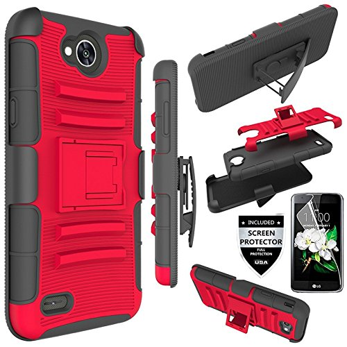 LG X Power 2 Case, LG Fiesta LTE Case, L00KLY [Heavy Duty] Hybrid High Impact Rubber Combo Holster Shockproof Protection Case Cover with Kickstand+Swivel Belt Clip for LG K10 Power /LV7 /M320 (Black) .