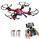 Drone with Camera,Potensic F181WH Drone RC Quadcopter RTF Altitude Hold RC Quadcopter UFO with 2MP WiFi Camera(Red)