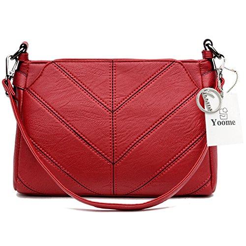 Yoome Retro Multi Capa De Gran Capacidad De Mujeres Suaves Bolso Multi Bolso Crossbody - Gris rojo