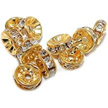 Pro Jewelry (Pack of 10) Silver Plated Gold Tone Crystal Spacer Beads