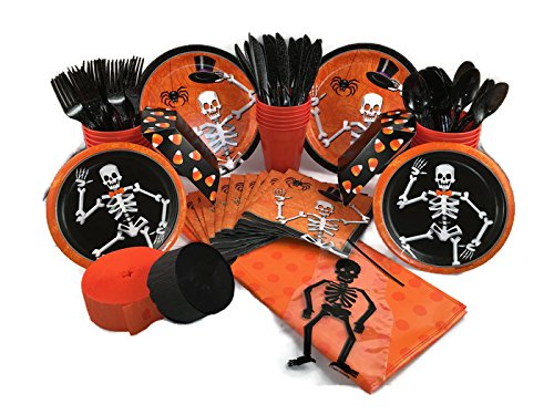 Boneyard Boogie Halloween Party Bundle for 16 Guests - Plates, Napkins, Cups, Utensils, Tablecover, Snack Servers, Treat Bags, (Great Food Ideas For A Halloween Party)