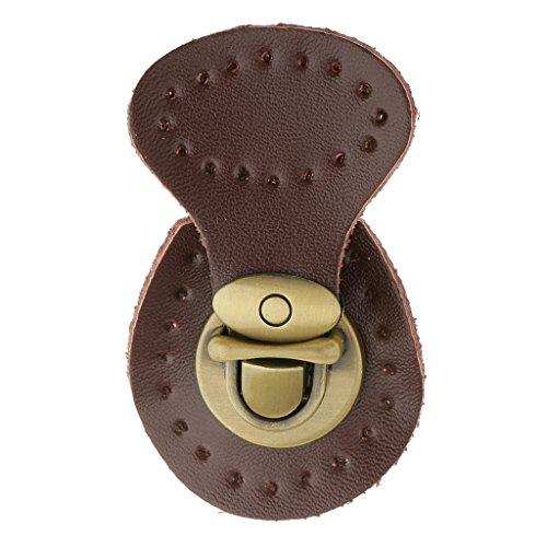 (MonkeyJack Genuine Leather Handbag Purse Lock Fastener Shoulder Bag Snap Buckle Clasp Bag Accessories - Coffee)