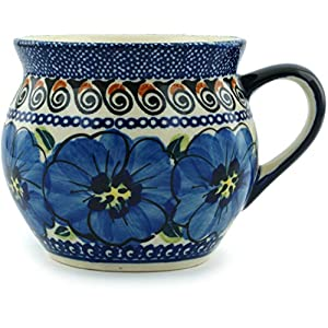 Blue Rose Polish Pottery Blue Art Medium Bell Shape Mug