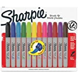Sharpie Brush Tip Permanent Markers - Brush Marker Point Style - Berry, Black, Blue, Brown, Green, Lime, Magenta, Orange, Purple, Red, Turquoise, ... Ink - 12 / Pack