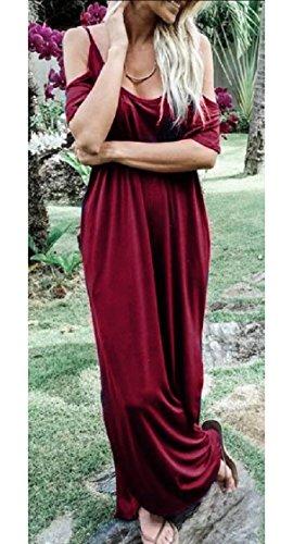 Womens Jaycargogo Neck Dresses Wine Red Loose Long Short Dress Boat Casual Maxi Split Sleeve 6pwRqpd