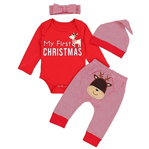 KANGKANG Christmas Outfits Baby Girls Boys My First Christmas Rompers Bodysuit Deer Pants with Christmas Hat 3-6 Months Red]()