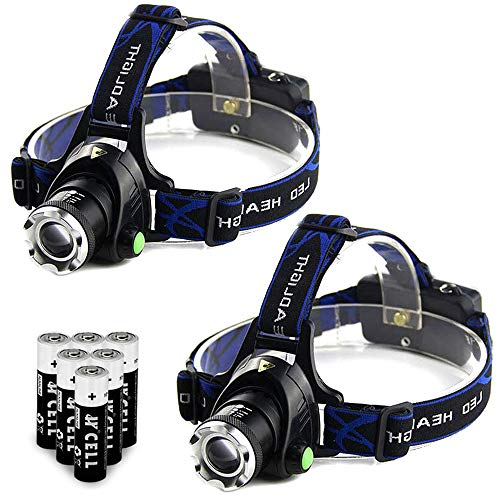 2Pcs Tactical Headlight Head Lamp Waterproof Military Grade LED Headlamp with 3 Modes and Zoom Function Ultra Bright Hands Free Taclight Headlamp,AAA Batteries Included