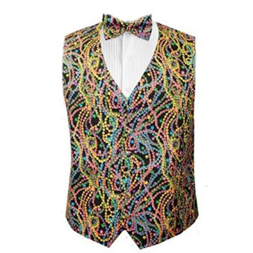 Mardi Gras Big Easy Beads Tuxedo Vest and Bow Tie Size Medium