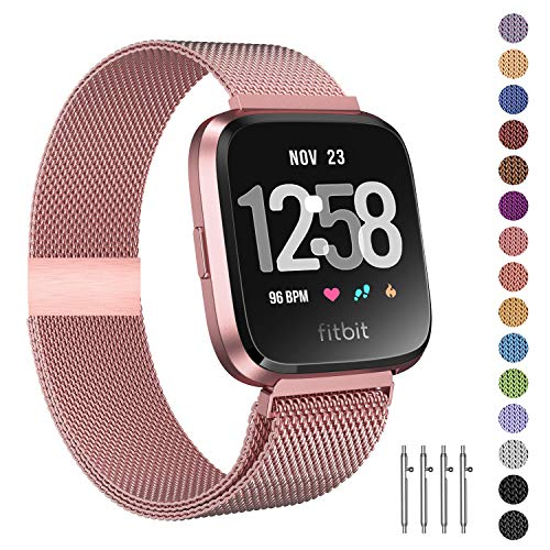 Fitlink Metal Bands Compatible for Fitbit Versa/Versa Lite Edition/Versa 2 Smart Watch for Women and Men