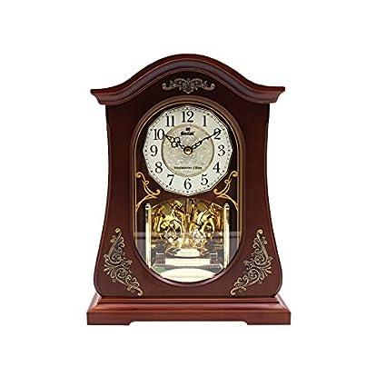 Y-Hui Relojes Twist de Madera Columpio Desk Clock Music Hora Reloj Base Silencio Sentado