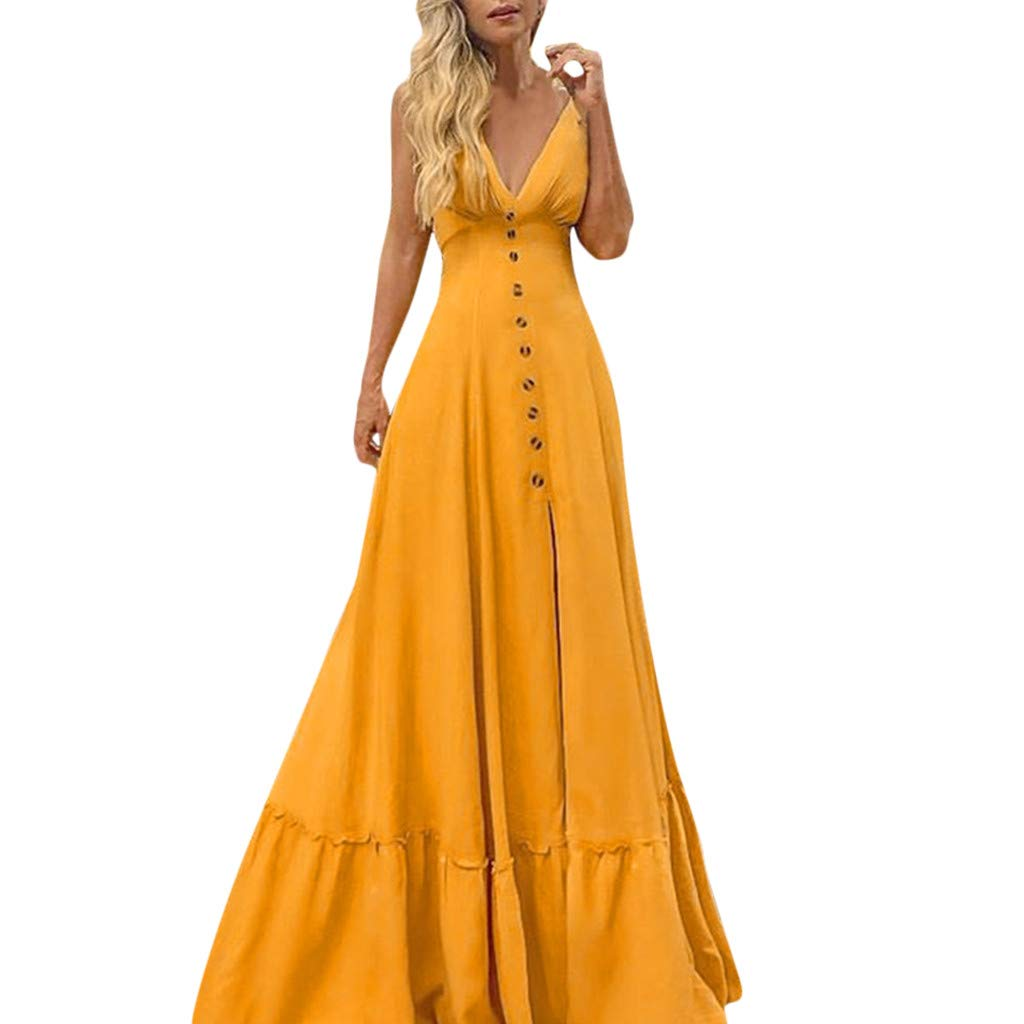 CocoMarket Strap Backless Deep V Neck Maxi Swing Dress for Womens Botton Font Flowy Solid Casual Evening Long Dresses