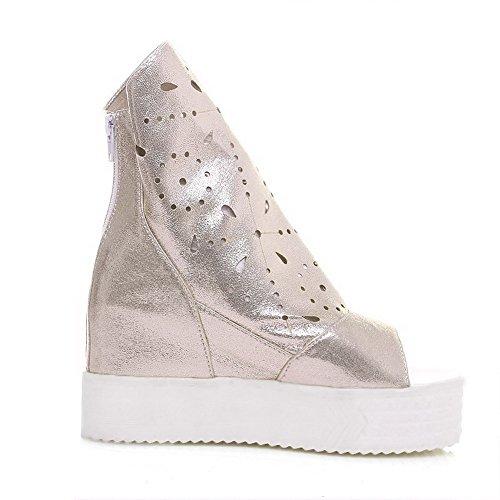 Amoonyfashion Kvinnor Fasta Mjuk Material Kick-häl Blixtlås Öppen Sandaletter Guld