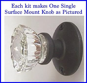 Crystal Antique Replica Surface Mount Single Dummy/French Door Knob Set