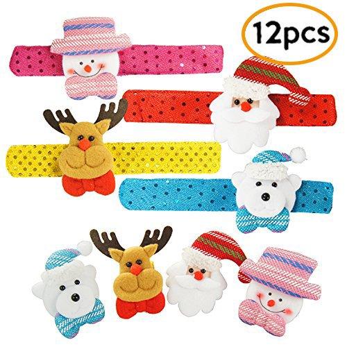 Pawliss Christmas Paillette Slap Bracelets Santa Claus Snowman Reindeer Bling-bling Wristband Xmas Decorations 12 Pcs