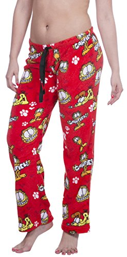 Licensed Women's Warm and Cozy Plush Pajama/Lounge Pants (Medium, Red) - Licensed Garfield
