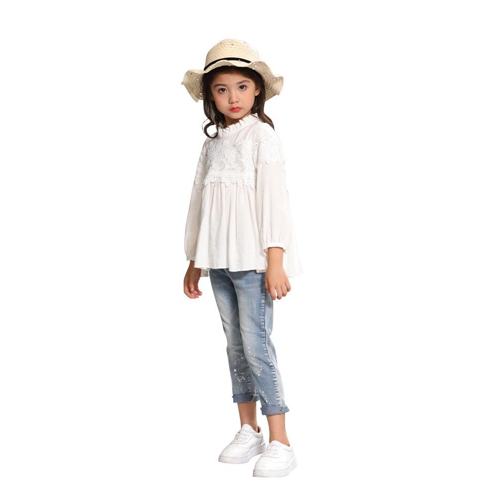 AIMBAR Kids Girls' Soft Washed Denim Pants Slim Elastic Waist Jeans Age 4-13 Years (10-11 Years)