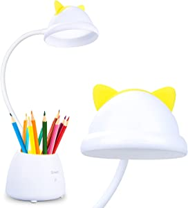 Neporal Cute Cat Led Desk Lamp, 3 Brightness Dimmable Desk Lamp with Pencil Holder,Organizer, Natural Light Eye-Caring LED Study Lamp, Cute Gifts for Cat Lovers; Kids