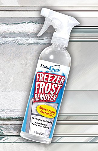 Klean Logik Freezer Frost Remover. Instantly removes frost from freezer and prevents ice from coming back. Large 16oz bottle with sprayer.
