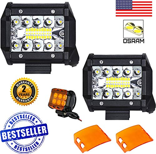 No.1 2X 60W 4 Inch Arsenal LED PODS 20PC Osram LEDs Light Bar Combo Beam Cube Work Light Driving Offroad Tri-Row Daytime Running Lights for SUV Boat 4x4 Jeep RZR UTV Can Am (FREE AMBER LENS COVERS) (Free Amber Lens)