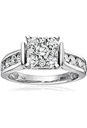 14k White Gold Composite Diamond Engagement Ring (1 1/4 cttw, H-I Color, I1-I2 Clarity), Size 7