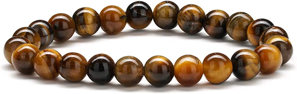 MONOOC Lava Rock Mens Beads Bracelet - 8mm Tiger Eye Lava Rock Stone Beads Bracelet Stress Relief Anxiety Bracelet Aromatherapy Essential Oil Diffuser Bracelets Yoga Beads Bracelets