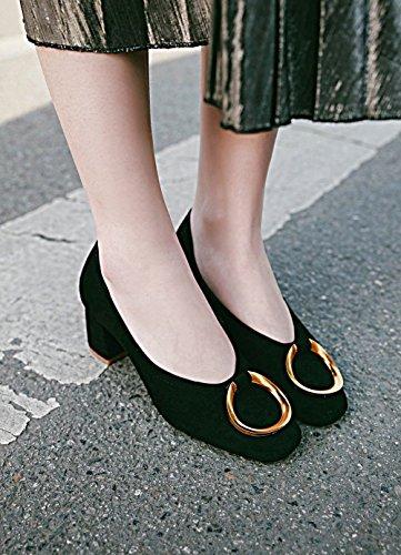 Latasa Womens Chunky Heels Faux Nubuck Pumps Black jZU9ctPJ