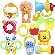 ZesGood 12 Piece Baby Rattle Newborn Toys Fun Cartoon Musical Flash Teether Handle Rattle Play Toy Gift Set (9pcs Toys + 3pcs Teether)