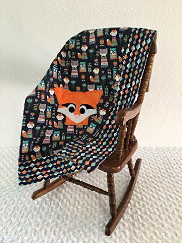 Small Navy Fox Applique Blanket