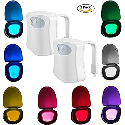 iBetterLife Advanced LED Toilet Lights Motion Detection, Inside Tolit Glow Bowl Nightlight, Human Body Infrared Auto Activated Sensor Seat Lamp Fixtures