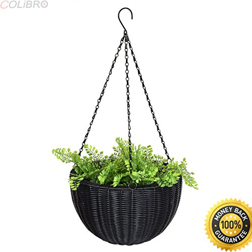 COLIBROX--4 PCS 13.8'' Round PE Rattan Garden Plant Hanging Planters Decor Pots New Outdoor Garden Fir Wood Raised Bed Planter Stand Flower Yard Landscape Box by COLIBROX