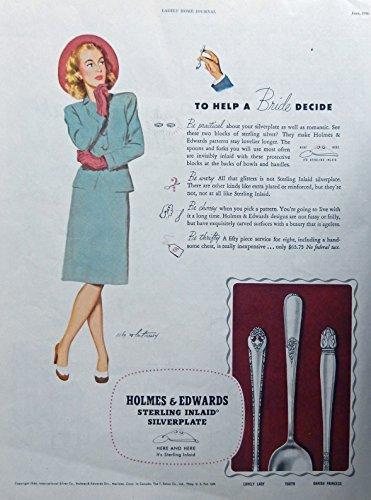 Holmes & Edwards Silverplate, Rare 40's print ad. Color Illustration. (help bride decide) original 1946 Ladies Home Journal magazine - Silverplate 1946