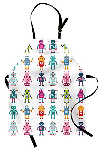 Futuristic Costumes Images - Ambesonne Nursery Apron, Colorful Cartoon Style
