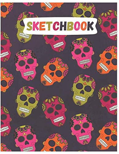 Sketchbook: Cute Skull Sketchbook for Adults/Children to Sketching, Whiting, Drawing, Journaling and Doodling, Large (8.5x11 Inch. 21.59x27.94 cm.) 120 Blank Pages (GREY&PINK&GREEN&ORANGE Pattern)]()