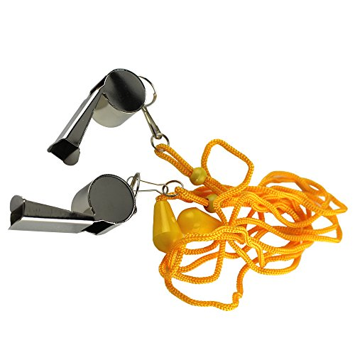 Steel Professional Coach's Sport Gymnasium Whistle with Lanyard for Outdoor Sports Training Hiking Survival ()