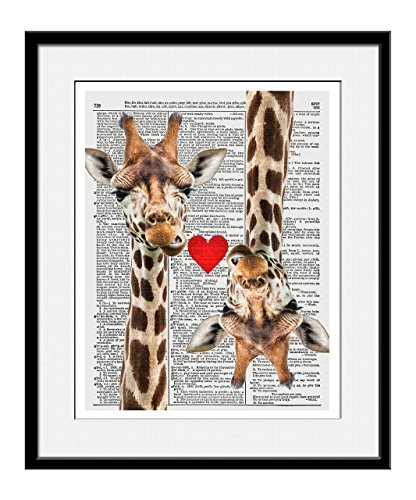 Giraffe Love 11x14 Inch Reproduction Vintage Dictionary Art Print With