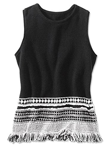Orvis Women's Fringe Detail Sweater Tank, Small Black