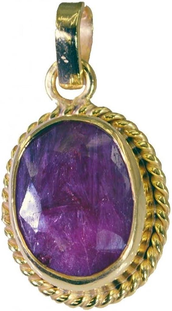 Gemsonclick GOCP343 - Colgante de piedras preciosas sueltas de rubí indio chapado en oro