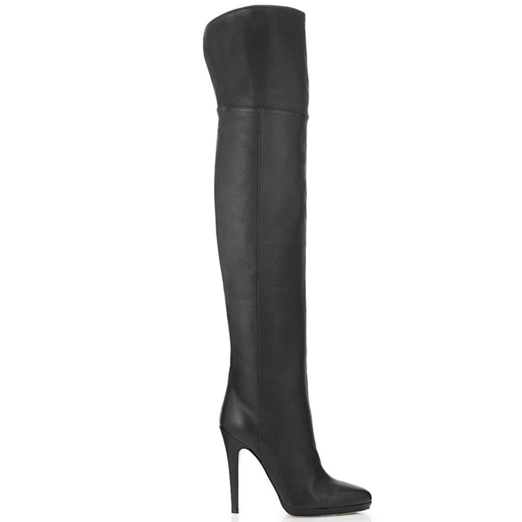 Botas de Cuero Genuino de Muslo de de de Invierno Punta Alta Dedo del pie Tacones Altos Sobre Rodilla Botas Altas Zapatos de Moda para Mujer 6de693