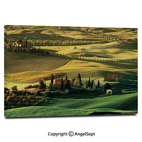 (Wall Art Decor High Definition Peaceful Landscape of Pienza Tuscany Vineyard Trees Meadow Hill Ancient House Painting Home Decoration Living Room Bedroom Background,16