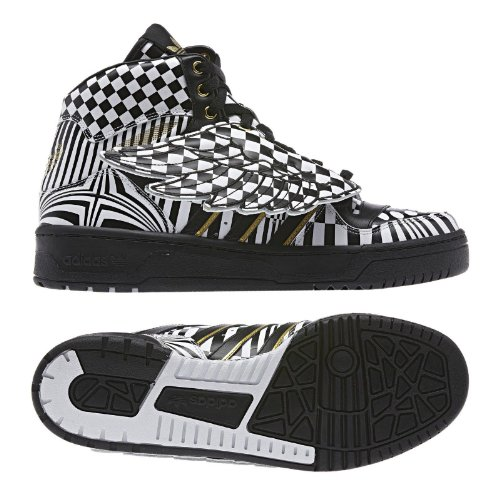 (adidas Originals ObyO JS Jeremy Scott Wings Op Art G95768 Black/White/Gold Men's Shoes (Size 7))