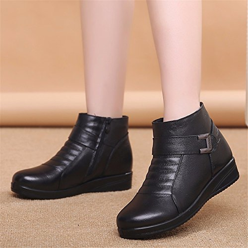 Thicker Boots Non Flats Slip HXVU56546 Cotton Warm Winter Women'S Black Shoes Shoes Soft Soled pqnTW5Aw
