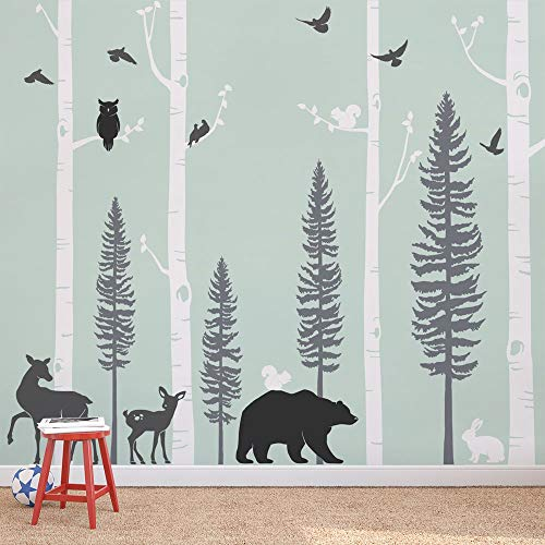 - Simple Shapes Birch Trees with Animals Wall Decal - Scheme C - 96