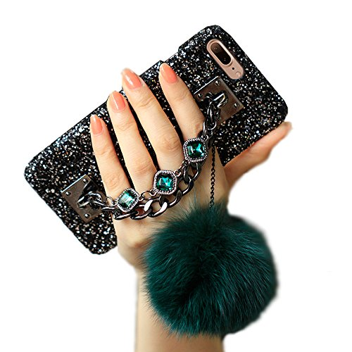 Aikeduo For Iphone 7/8 caseChain Luxury Bling Diamond Rhinestone Rabbut Fur Plush Strap Chain Case For iPhone 7 case Covers (Dark green)