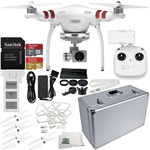 DJI Phantom 3 Standard Quadcopter Drone with 2.7K Camera and 3-Axis Gimbal & Manufacturer Accessories + DJI Propeller Set + Aluminum Hard-Shell Case + 7PC Filter Kit (UV-CPL-ND2-400-Hood-Stabilizer)