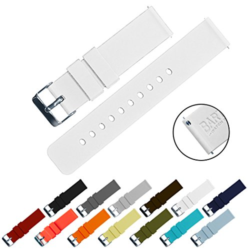 BARTON Quick Release - Choose Color & Width (16mm, 18mm, 20mm, 22mm) - White 22mm Watch Band Strap (Silicone Watch White)