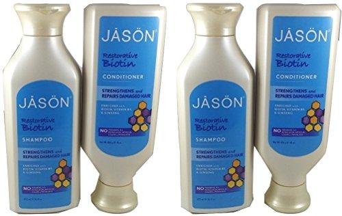 Jason Natural Organic Restorative Biotin B5 (2) Shampoos + (2) Conditioners 16 OZ Combo Pack ()