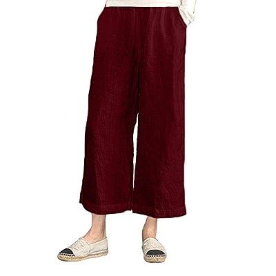 Qiusa Pantalones Sueltos de Lino de algodón de Cintura elástica para Mujer Pantalones Anchos recortados de Pierna Ancha (Color : Rojo, tamaño : 4X): Hogar