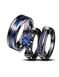 Couple Ring Bridal Set His Hers Black Gold Plated Blue Agate Stainless Steel Wedding Ring Band Set